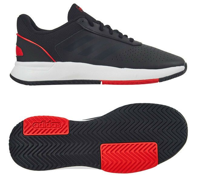 Adidas Court Smash Men S Tennis Shoes Black Red Racket Racquet Nwt F36716 Adidas Tennisshoes Mens Tennis Shoes Adidas Tennis Shoes Tennis Shoes