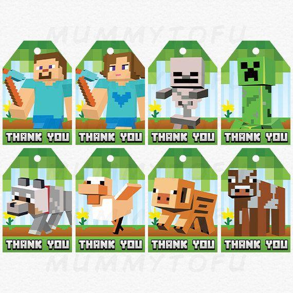 Minecraft Birthday Party Thank You Favor Tags  Steve by mummytofu