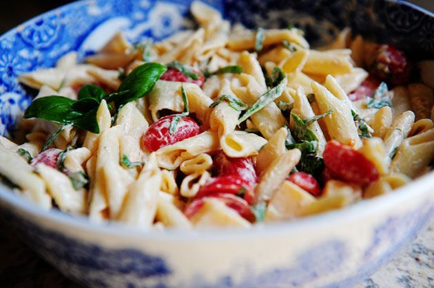 Spicy Pasta Salad with Smoked Gouda, Tomatoes, and Basil. One of my favorite pasta salads in the world. Great for a cookout.