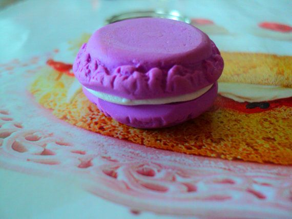 key chain miniature macaroon polymer clay by EVELjewlery on Etsy