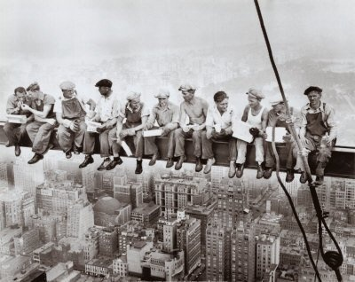 The iconic 1932 image Lunch Atop A Skyscraper of New York steel erectors taking a break.