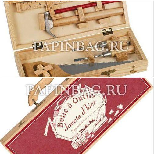 """Набор подарочный с инструментами """"Юный плотник"""" в чемоданчике, 6 предметов Чемоданчик и деревянные элементы инструментов выполнены из бука. Все инструменты настоящие, рабочие. Отличный подарок мальчику на Новый Год, на день рождения и просто по случаю! http://papinbag.ru/index.php?m=4614"""