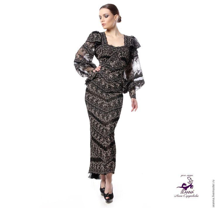 """Купить Роскошное вечернее платье """"Черно-золотистое"""" из французского кружева - черный, платье"""