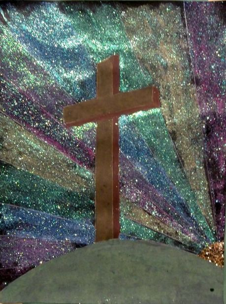 use painter's tape to tape off cross, then paint a rainbow background