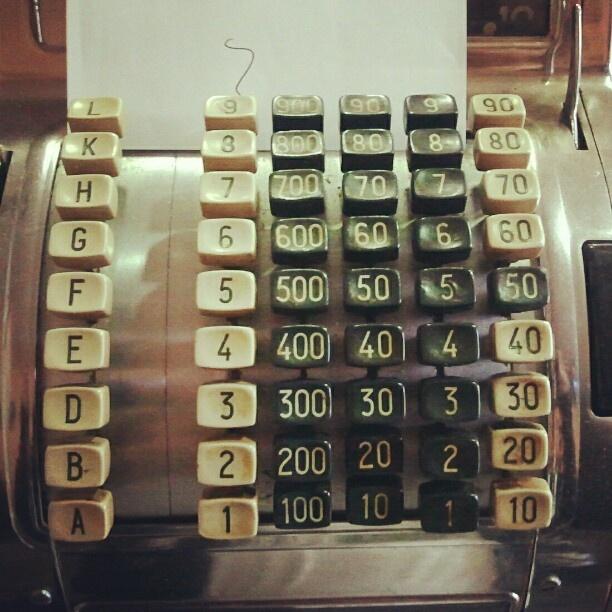 Antigua caja registradora. Old cash register.
