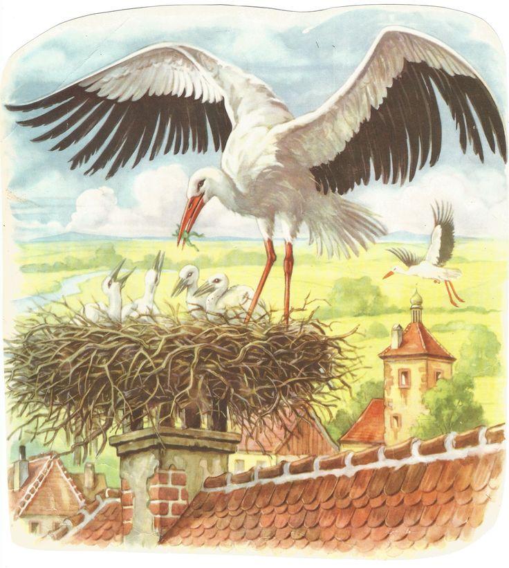 Egy régi mesekönyv gólyás képe.