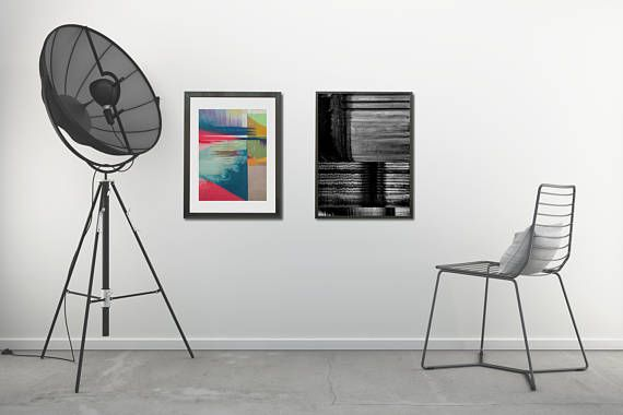 Love this modern abstract printables in bold colors and shapes, creative lights, and shadows. A perfect pair of posters for modern or industrial interiors, ready to print!