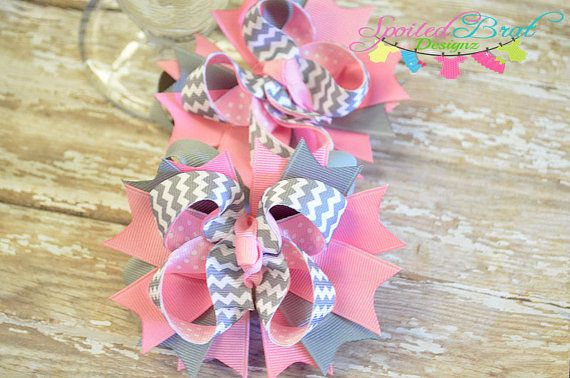 Pink and Gray Chevron Stacked Piggy Hairbows by spoiledbratdesignz, $10.00
