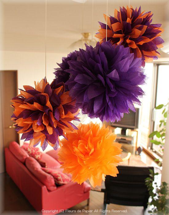 $Fleurs de Papier ~クラフトパンチや花紙で作る立体のお花いろいろ~-お花紙でハロウィンポンポン