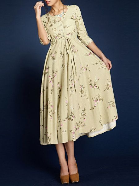 Beige Beach Floral-printMidi Dress Stylewe