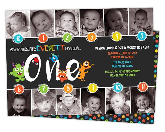 Get the timeline photo monster birthday invitation you've been looking for, for your little boys first birthday party, featuring monthly photos from the first year in a fun chalk monster bash theme. This 1st birthday boy invitation is professionally printed on 100lb gloss cover stock on both sides (backside is matching doodle polka dots), and not only is a wonderful invite but also makes a great keepsake for family & friends. Each invitation is 5x7, produced quickly and with high quality ...