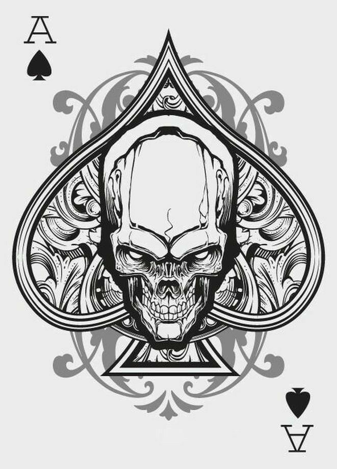 Pitch Black Regular Poker Size Designer Skull Artwork Little Playing Cards