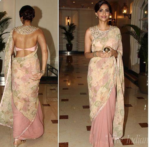 @SonamAKapoor in a #Beautiful floral #Saree and #OMG Bib Backless Blouse by Shehla Khan https://www.facebook.com/ShehlaaByShehlaKhan June, 14