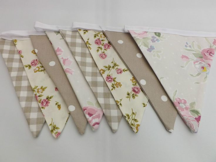beige and pink fabric bunting