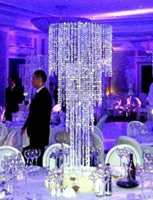 Wedding Iridescent Spiral Crystal Chandeliers Centerpieces Decorations  Crystal Bling Diamond Cut For Event Party Decor