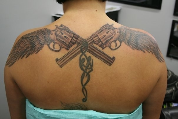 Crossed pistols with wing handles! | Badass Tat Ideas ...