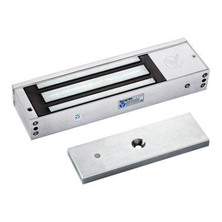 """Electromagnet de forta aplicat SM-500LEDA. Electromagnet aplicabil SM-500LEDA este potrivit pentru usi de lemn, usi de sticla, usi metalice si usi anti-foc. Carcasa este din aluminiu, iar contraplaca din otel inoxidabil.  Tensiune de alimentare: 12/24Vcc Amperaj: 580mA la 12Vcc, 290mA la 24VCC Dimensiuni contraplaca: 183x58x17mm Alte caracteristici: 500gf; fail-safe; include suportul """"I""""; protectie de supratensiune incorporata; LED; monitorizare"""
