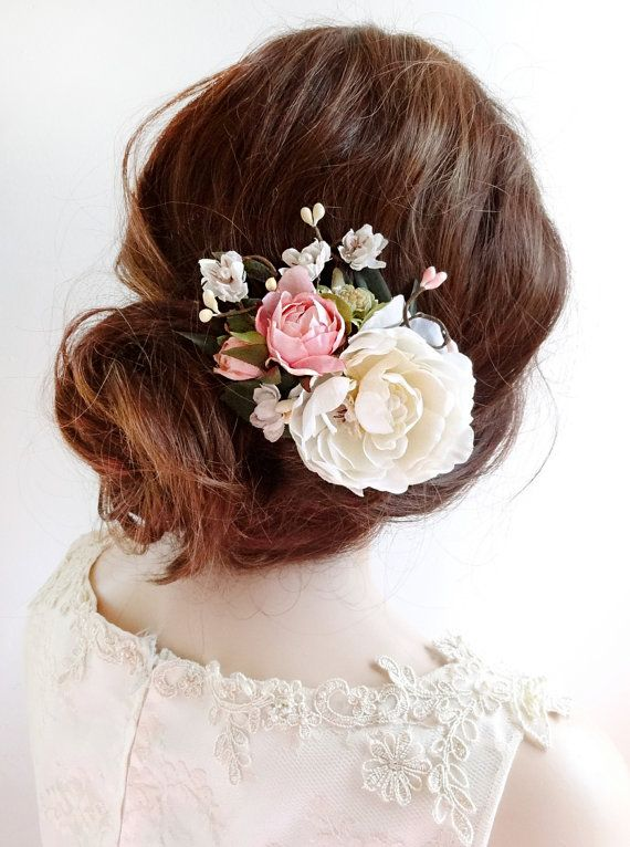 bridal hair clip floral hair clip bridal hair by thehoneycomb