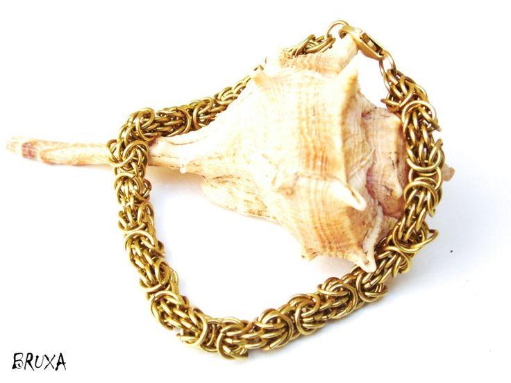 Bransoletka chainmaille Trizantine mosiężna, delikatna bransoletka chainmaille, bransoletka z mosiądzu, bransoletka w kolorze złotym,zapinana bransoletka