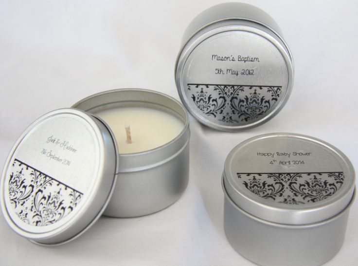 Soy Wax Candle Tins: Baby shower gift, wedding bonbonniere or a gift for someone special. Candle tins are a perfect gift that comes with a personalised or non personalised label and your choice of fragrance. Please visit www.themeltingjar.com.au for more information