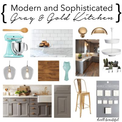 Dwell Beautiful shows before pictures of her horrendous kitchen and shows off a pretty gray and gold kitchen mood boards with plans for transforming it!