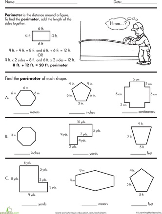 Worksheets: Geometry Basics: Find the Perimeter