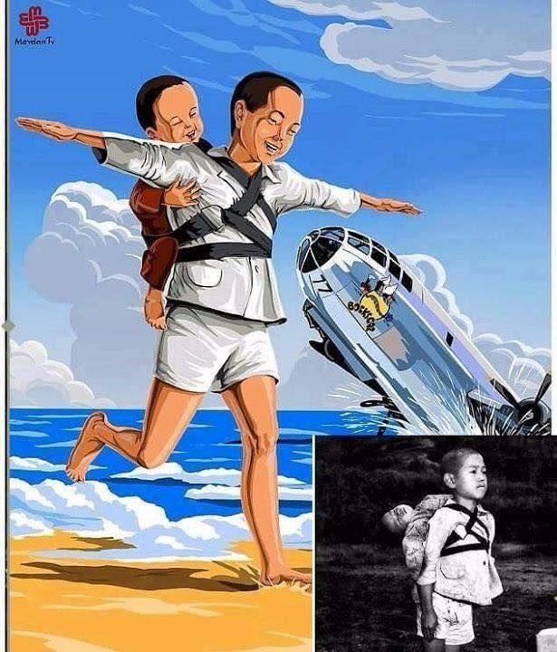 Kardeşinin cesedini sırtında taşıyan Japon çocuk..