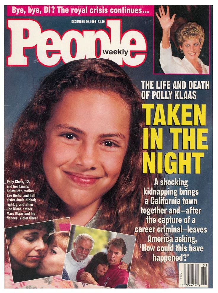 On October 1, 1993, Richard Allen Davis kidnapped Polly Klass, 12, from her bedroom at knifepoint during a slumber party. He was stopped by police that night, but they were unaware of his crime and released him. It is believed he strangled Polly later that night and buried her. He was arrested in November 30 for violation of parole and then connected with the kidnapping and murder of Polly. He led them to her body 4 days later. He was found guilty and sentenced to death.