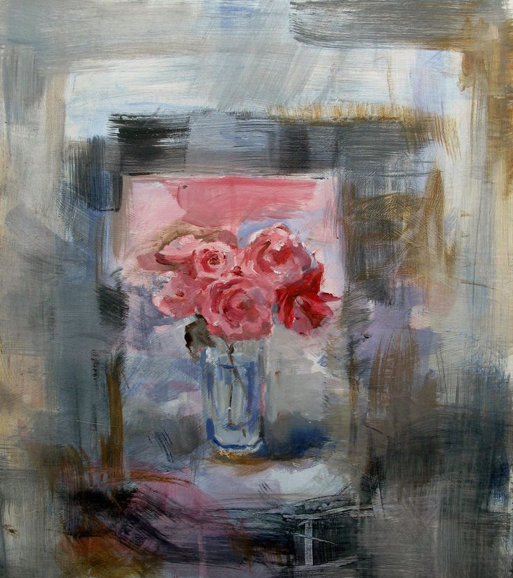 Roses.  Acrylic painted on wrapped canvas 16 x20inches.