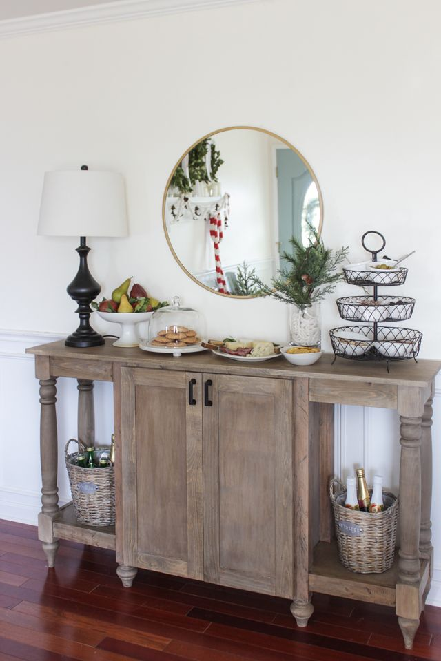 how to build a modern farmhouse buffet with turned legs and a center cabinet for storage