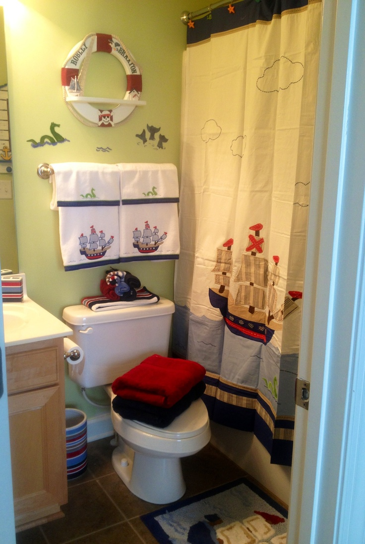 Pirate bathroom decor for kids - Braxton S Pirate Bathroom Love The Raft With The Names On