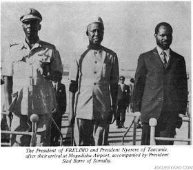 Siad Barre welcomes Samora Machel & Julius Nyerere.