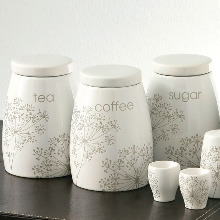 Ceramic tea coffee sugar jars canister set of 3 kitchen storage pots house organizing ideas - Coffee tea and sugar canisters ...
