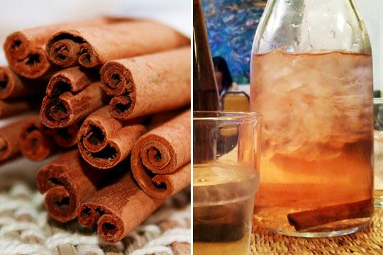 Making cinnamon water requires just two ingredients but you have your choice of techniques. One method is to simply drop a cinnamon (or cassia) stick in a pitcher of water and chill overnight.  To coax out the color, simmer the cinnamon in a pot of water on the stove; a ratio of 1 cinnamon stick to 1 cup of water works well.
