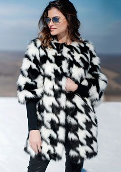 Black & White Fox Houndstooth Faux Fur Coat