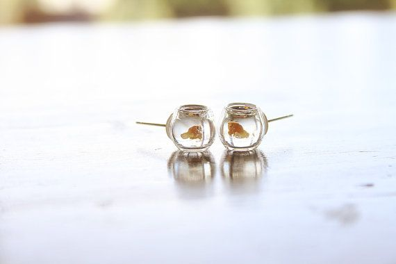 Yellow Goldfish in a bowl pet  earrings by lepetitebonbon on Etsy