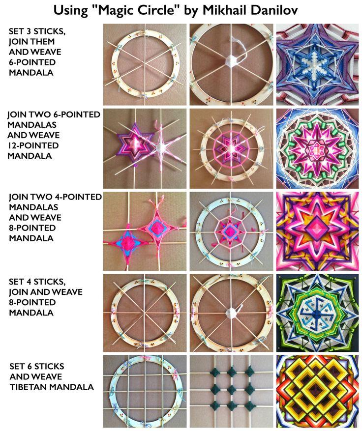 Magiques cercle 9 pouces 23 cm Mandala Ojo-de-Dios tissage