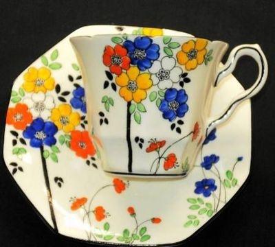 Melba England Yellow Pink Blue Tea Cup and Saucer