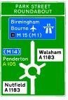 What colour are motorway direction signs? Find out here: https://www.gov.uk/government/uploads/system/uploads/attachment_data/file/312272/the-highway-code-direction-signs.pdf