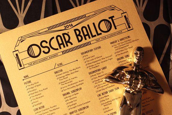 2016 Oscar Ballot —Printable Academy Awards Party Game. Matches my FREE Oscar Bingo Game.