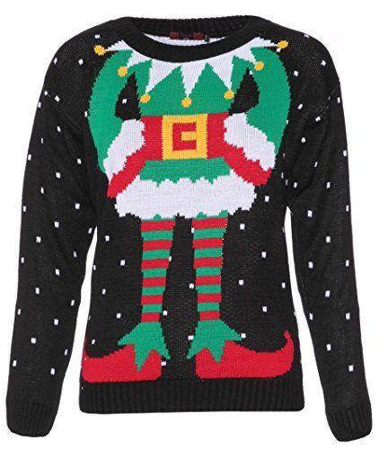 Crazy Girls Womens Rudolph Reindeer Elf Print Snowflake Christmas Jumper ** You…