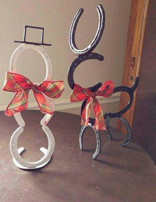 Horseshoe snowman and reindeer...so cute for Christmas crafts!