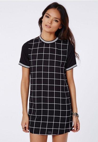 Jeane Contrast Sleeve T-Shirt Dress Black/White - Dresses - T-Shirt Dresses - Missguided