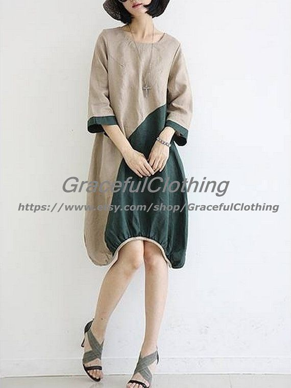 Khaki cotton dress HalfSleeve dress linen by GracefulClothing, $69.00