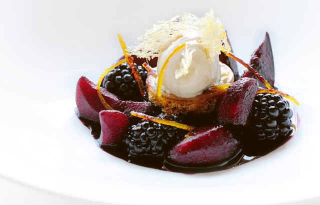 Mulled Winter Fruits with Cinnamon Ice Cream - Gary Jones