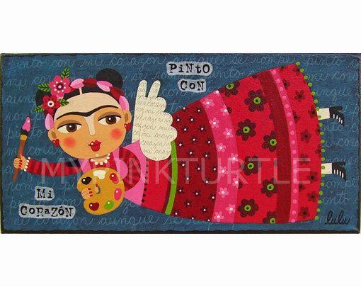 FLying Frida Kahlo Artist Angel Print By LuLu Mypinkturtle