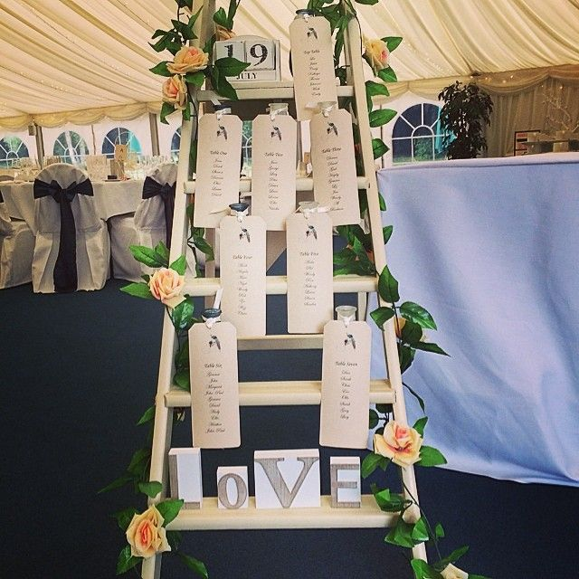 Ladder table plan from a recent wedding. More unusual ideas for seating plans at http://www.toptableplanner.com/blog/unusual-ideas-for-wedding-seating-plans