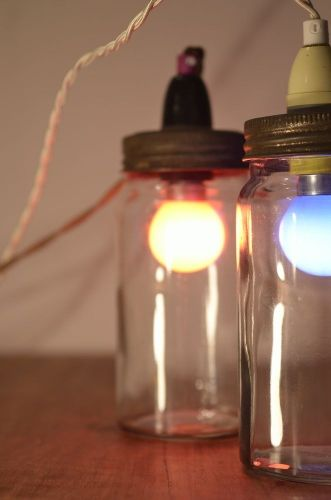 canning jar lights made using vintage kilner mason ball and gem jars