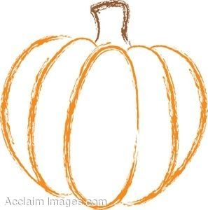 Fall Clip Art Black And White | Line Drawing of a Pumpkin