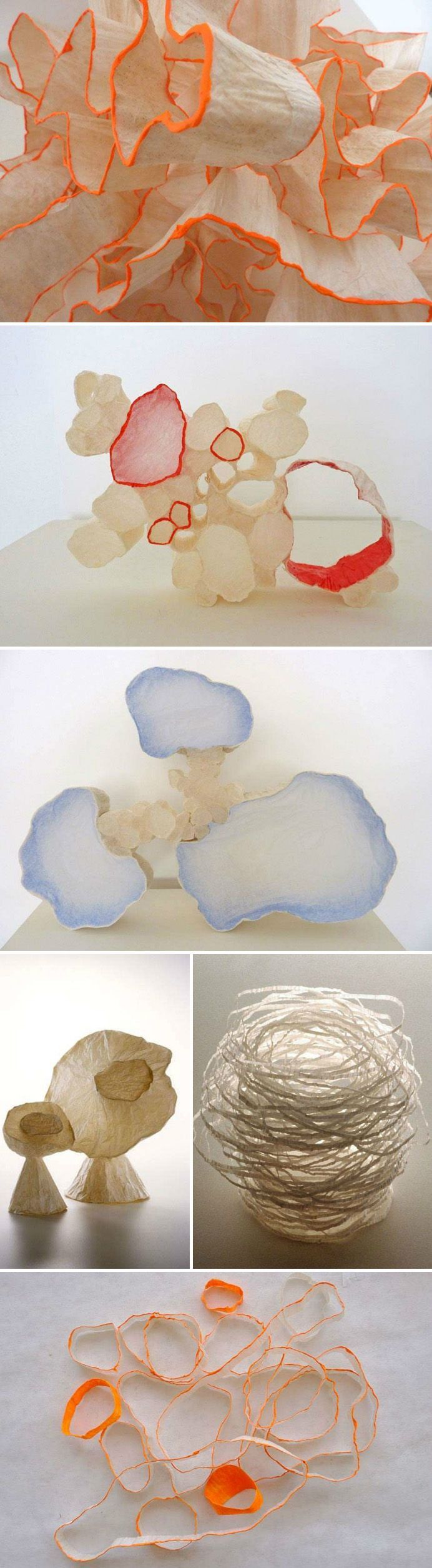 Click to enlarge California artist Mary Button Durell creates paper sculptures using only tracing paper and wheat paste. They have been compared to cellular membranes and described as biomorphic ab...